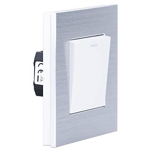Navaris Design Lichtschalter aus Aluminium - Licht Schalter mit Rahmen aus Aluminium - Einbauschalter - Aufputz Wandschalter in Silber