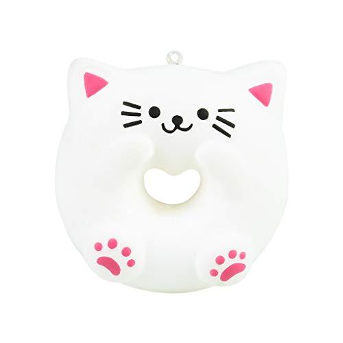Squishy Spielzeug,Donut Cat Squishies Squishy Anti Stress Squishie Knautschi Squeeze Spielzeug Slow Rising zum Drücken Stressabbau Kinder & Erwachsene 9x8.5x3.5cm
