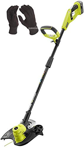 RYOBI ONE+ 18-Volt Lithium-Ion Electric Cordless Battery String Trimmer with Gloves (Tool Only)
