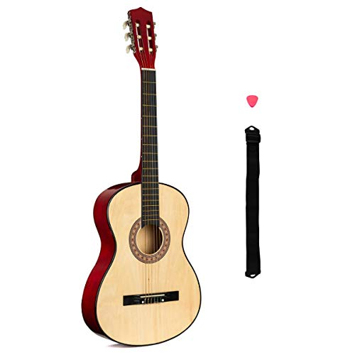 Kids Guitar, 3 4 Size Wooden Acoustic For Beginners, Strap, Pick, Age 8 To...