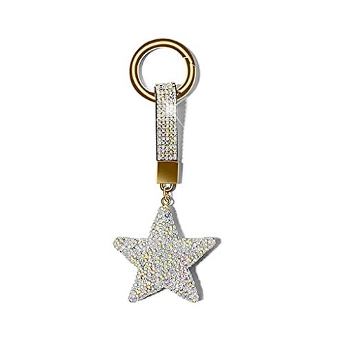 Llavero Estrella con Tachuelas diamantados, Cintura Creativa, Anillo de Llavero de Coche, Adornos de Bolsa, Regalos para Ella (Color : White)