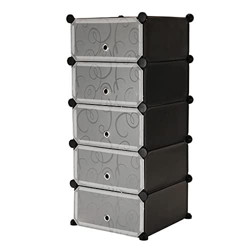 PrimeMatik - Armario Organizador Modular Estanterías de 5 Cubos de 17x35cm plástico Negro con Puertas y Dibujado