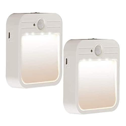 NARUJUBU Luz del sensor de movimiento, llevado con batería LED de luz de noche Luz activada Stick-On Luces de armario recargable Stail Stair Luces de seguridad para el pasillo Cuarto de baño Cocina