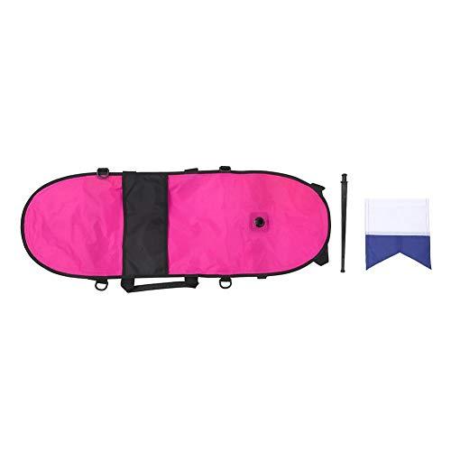 Keenso - Marcador de Superficie, Accesorios de natación de boya de señal, Marcador de Buceo con el mástil de Bandera, Rosa