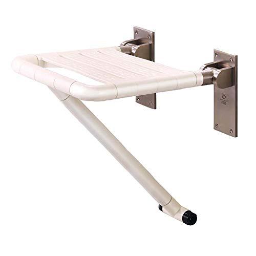 LUUDE Douchestoel voor wandmontage, badkruk met lichtuitstraling, krachtig ondersteund design, belastbaar tot 200 kg, veiliger