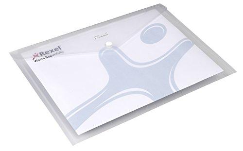 REXEL Buste con bottone A4 Ice (conf.5) - Trasparente - 2101660