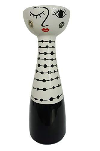 TrendHome Deko Keramik Weiße Vase Mit Gesicht, Moderne Wohnzimmer Tischdeko Bemalt Mit Frauen Gesicht, Trendiges Couchtisch Deko Mit Face Motiv HxB 25x8cm