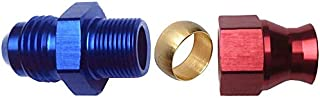 6AN Male Flare to 5/16 Tube Hose Fitting Adapter Fuel Hard Tubing Line Blue and Red Aluminum Anodized