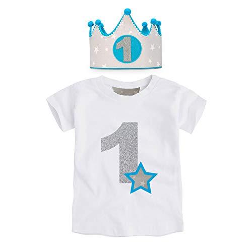 Anak-Conjunto 1er Cumpleaños de 2 Piezas Corona + Camiseta 9-18 Meses - Regalos Originales para Bebes (Estrellas Gris-Azul, 9-12 Meses)