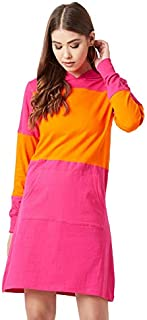 The Dry State Women's Cotton Colour Block Hooded Full Sleeve Dress (Pink and Orange, Medium)