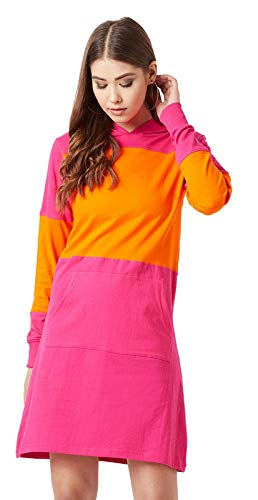 The Dry State Women's Cotton Colorblock Full Sleeve Hooded Neck Dress