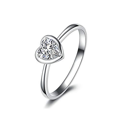 Daesar Anillos Oro Blanco 18 Kilates Mujer,Anillo Compromiso de Plata Mujer Corazón Diamante Blanco 0.2ct Anillo Talla 9,5