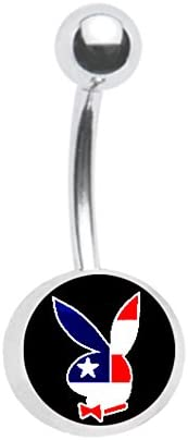 Officially Licensed Patriotic American Flag Playboy Bunny Belly Navel Ring Piercing bar Body Jewelry 14g
