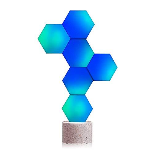 Cololight Smart Panel LED (6 unidades de iniciación con base de piedra) Cambio de luz USB con 16 millones de colores RGB, funciona con Alexa/Google Assistant