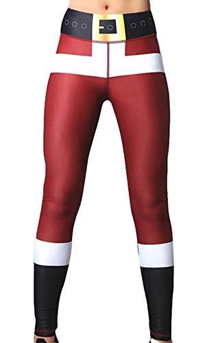 cxzas852 Leggings per Pantaloni da Yoga con Pantaloni Sportivi da Fitness con Stampa Natalizia da Donna