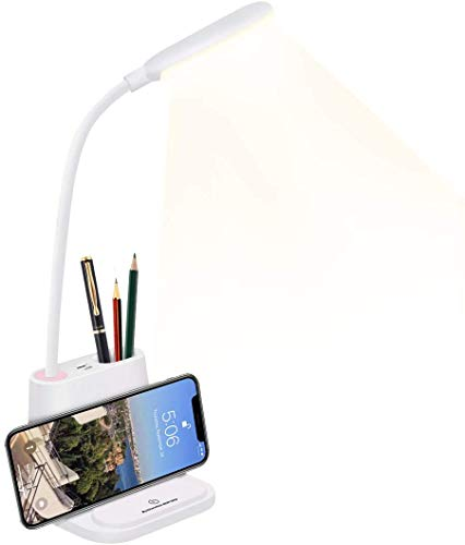 Portalápices lámpara de escritorio LED protección ocular lámpara de mesa pequeña lámpara de mesa para niños luz de lectura USB recargable con soporte para bolígrafo flexible regulable niños