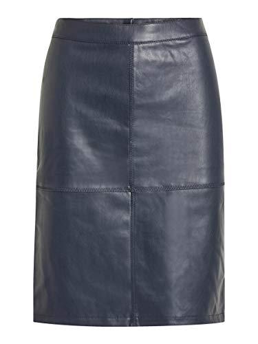 VILA CLOTHES VIPEN NEW SKIRT-NOOS, Falda Mujer, Azul (Total Eclipse), 34 (Talla del fabricante: X-Small)