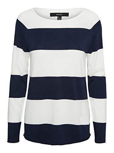 VERO MODA Damen VMNELLIE Glory LS Long Blouse NOOS Bluse, Cloud Dancer/Stripes:Navy Blazer, M