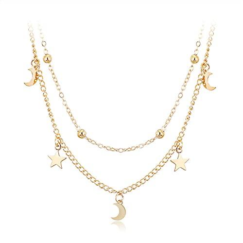 Denluns 2 unidades de collar de capas para mujeres y chicas, sexy y larga, collar en forma de Y, ajustable, collar largo para mujer, aleación,