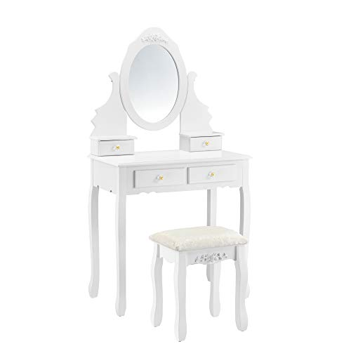 [en.casa] Schminktisch 'Limerick' mit Spiegel Hocker Frisierkommode Frisiertisch Kosmetik Weiß Messingfarbe