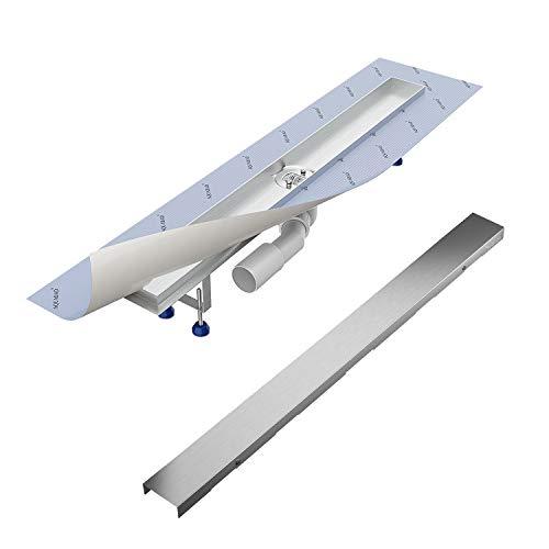 Komplett-SET - Duschrinne 80 cm AQUABAD® SDS Pro aus Edelstahl inkl. Haarsieb, Abgang waagerecht, Blende