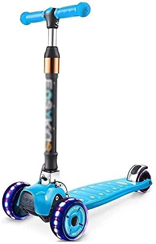 monopatín Patinete Scooter de Patada Plegable   Alturas Ajustables para niños Scooter con 3 PU Rueda Intermitente   Freno Trasero Absorbente de Choque para 2-13 niños (Color : Blue)
