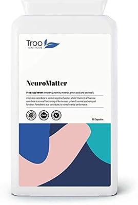 NeuroMatter Brain Support 90 Capsules | Includes Ginkgo Biloba | Choline Bitartrate | Betaine | L-Carnitine | Lecithin | Vitamins and Minerals | UK Manufactured | Quality Guaranteed