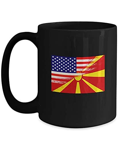 USA Mazedonien Flagge Mazedonisch 11oz schwarze Kaffeetasse Teetasse