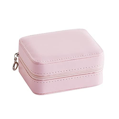 XLBH Almacenamiento de Joyas Caja de joyería de Cuero portátil de Viaje clásico con Regalo de Boda Espejo Accesorios de casa (Color : Pink)