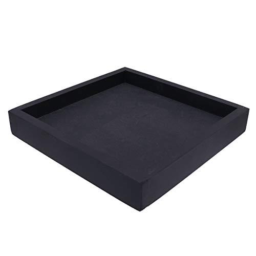 Hemoton - Sottovaso in plastica effetto cemento, quadrato, pianta, sottovaso per drainage succulenti, porta vasi per interni ed esterni, 20 x 20 cm, colore: Nero