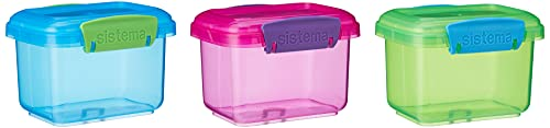 Sistema Lunch Collection Food Storage Containers, 1.6 Cup, 3 Pack, Blue/Green/Pink   Great for Meal Prep   BPA Free, Reusable