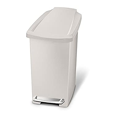 simplehuman 10 Liter/2.6 Gallon Compact Slim Bathroom or Office Step Trash Can, Stone Plastic