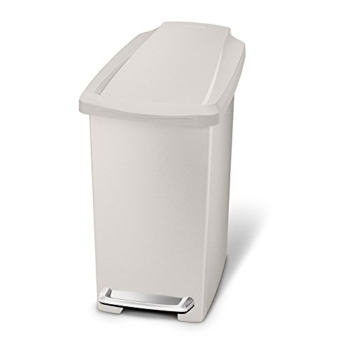 simplehuman 10 Liter / 2.6 Gallon Compact Slim Bathroom or Office Step Trash Can, Stone Plastic
