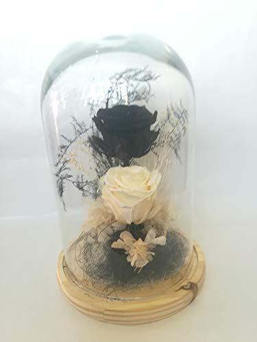 almaflor Rosas eternas Negra y Blanca. Cúpula de Cristal y Base de Madera Prime. Cúpula de Rosas eternas Negra y Blanca, Musgo liofilizado, Hortensia y Flores preservadas. Fabricado en España.