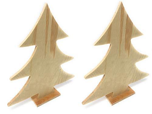 Vetrineinrete® Alberello di Natale 2 Pezzi in Legno Grezzo per decoupage Albero Personalizzabile Decorazioni Natalizie addobbi per la casa 48994