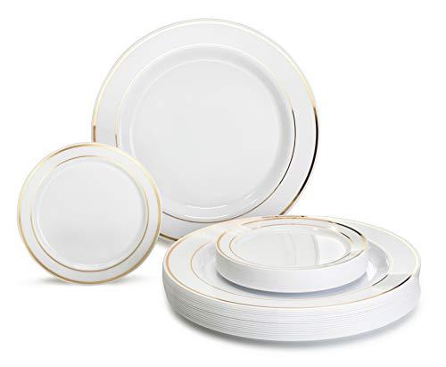 OCCASIONS  240 Plates Pack Heavyweight Premium Disposable Plastic Plates Set 120 x 105 Dinner  120 x 625 Dessert  Cake Plates White Gold Rim