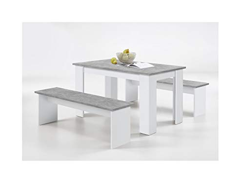 Germanica LUBECK Kitchen Dining Living Room Table with Matching Benches in Stone & White Effect Finish. Easy Self Assembly