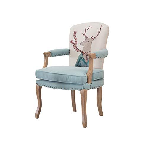 CJSWT Butaca de Comedor de Tela tapizada Vintage Francesa con Ajuste de Clavos, sillón, Tela tapizada, diseño de Acento, Sala de Estar