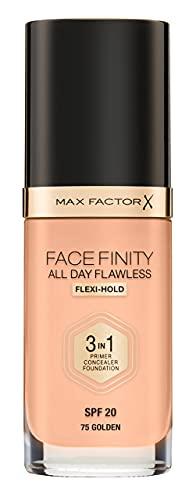 Max Factor Facefinity All Day Flawless 3in1 - Fondotinta Liquido a Lunga Durata, 75 Golden, 30 ml