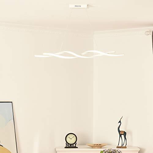 HOMCOM Lampadario LED Sospeso Ondulato, Altezza Regolabile, Illuminazione Moderna Casa e Ufficio Luce Fredda 6500K