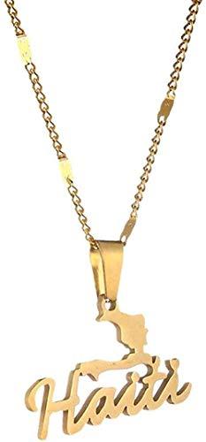 banbeitaotao Collar de Acero Inoxidable Mapa de Sicilia Collares Pendientes Color Dorado Mapa de Sicilia Italiano Joyería de Cadena