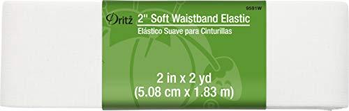 """Dritz Notions White Elastic Soft Waistband 2"""", 2"""""""