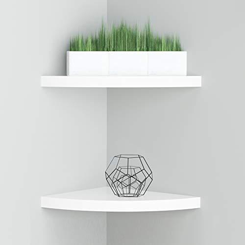 8 Inch Floating Corner Shelf Set of 2,White Wall Mounted Corner Storage Shelf for Bedroom, Living...