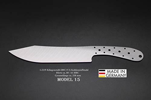 Rohling Messer Model 15 / 338mm Poliert Messerbau Messerstahl Messerklinge Klingenrohling Jagdmesser