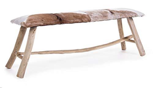 PEGANE Banc en Bois Teck et Cuir - Dim : L 120 x P 35 x H 45 cm