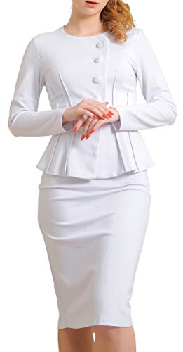 Marycrafts Women's Formal Office Business Shirt Jacket Skirt Suit 8 Off White