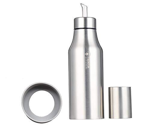Tenta Kitchen - Vinagrera/aceitera de acero inoxidable/dispensador de condimentos líquidos, acero inoxidable, Plateado, 750 ml,anillo de silicona antideslizante