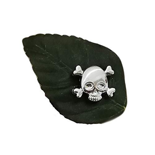 La Loria 2 Schuhclips -Skull- in grün-silber, Totenkopf Schuhschmuck Brosche