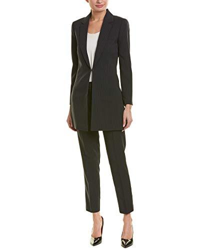 Tahari by ASL Women's Pinstripe Topper Jacket Pants Suit Black/Blue 8