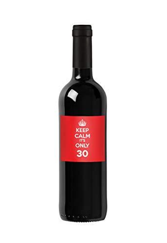 Bottiglia di vino personalizzata Merlot del Veneto IGT - Keep Calm it's only - Idea regalo personalizzato per compleanno e anniversario - 750 ml (Rosso)